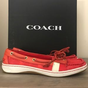 Coach Red Boat Shoes 10 NEW